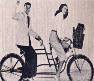 Ronald Reagan and Dorothy Lamour on a tandem bike