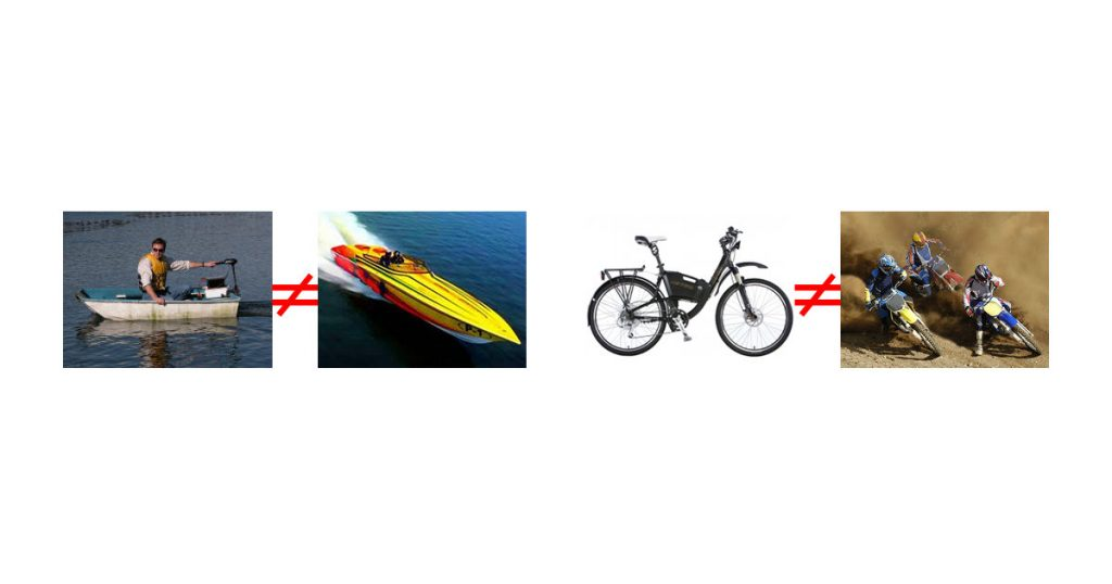 E-bike is to Bike what Trolling Motor is to Rowboat