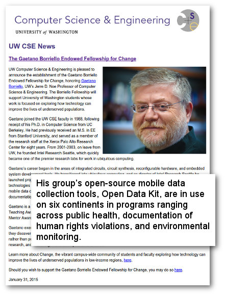 UW CSE News Gaetano Borriello
