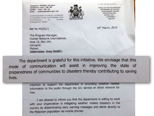 Malawi Disaster Management Affairs Letter