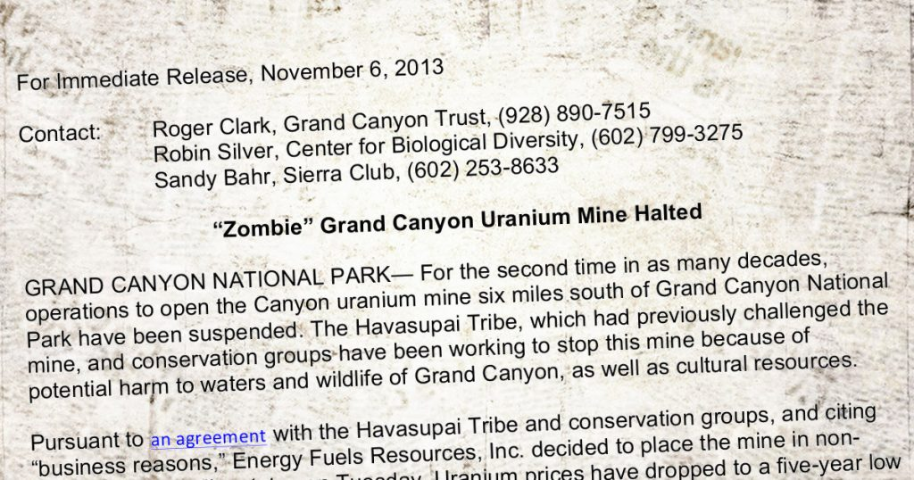 "Press Release: ""Zombie"" Grand Canyon Uranium Mine Halted"
