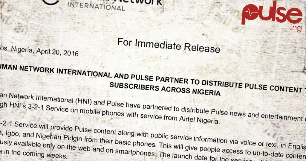 Press Release: HNI-Pulse.ng Partnership