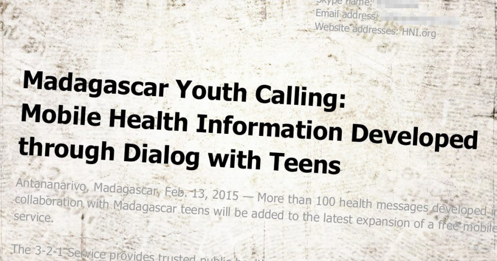 Press Release: Madagascar Youth Calling